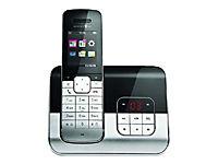 TELEKOM Sinus A806 schwarz/metall schnurlos analog mit AB Telefonbuch für 500 Einträge Metall-Design Bluetooth Kontakte synchr - Produktdetailbild 1