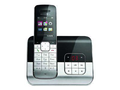 TELEKOM Sinus A806 schwarz/metall schnurlos analog mit AB Telefonbuch für 500 Einträge Metall-Design Bluetooth Kontakte synchr