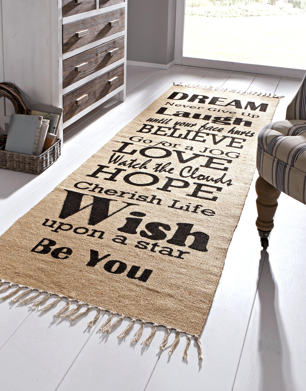 Teppich Sprüche, beige-schwarz Größe: 70 x 200 cm | Weltbild.de