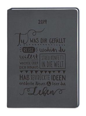 Terminplaner Lederlook A6 Schwarz (Tu was dir gefällt) 2019, Grafik Werkstatt