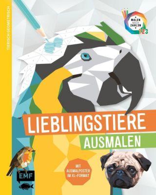 Tierisch geometrisch - Malen nach Zahlen: Lieblingstiere ausmalen - Edition Michael Fischer  