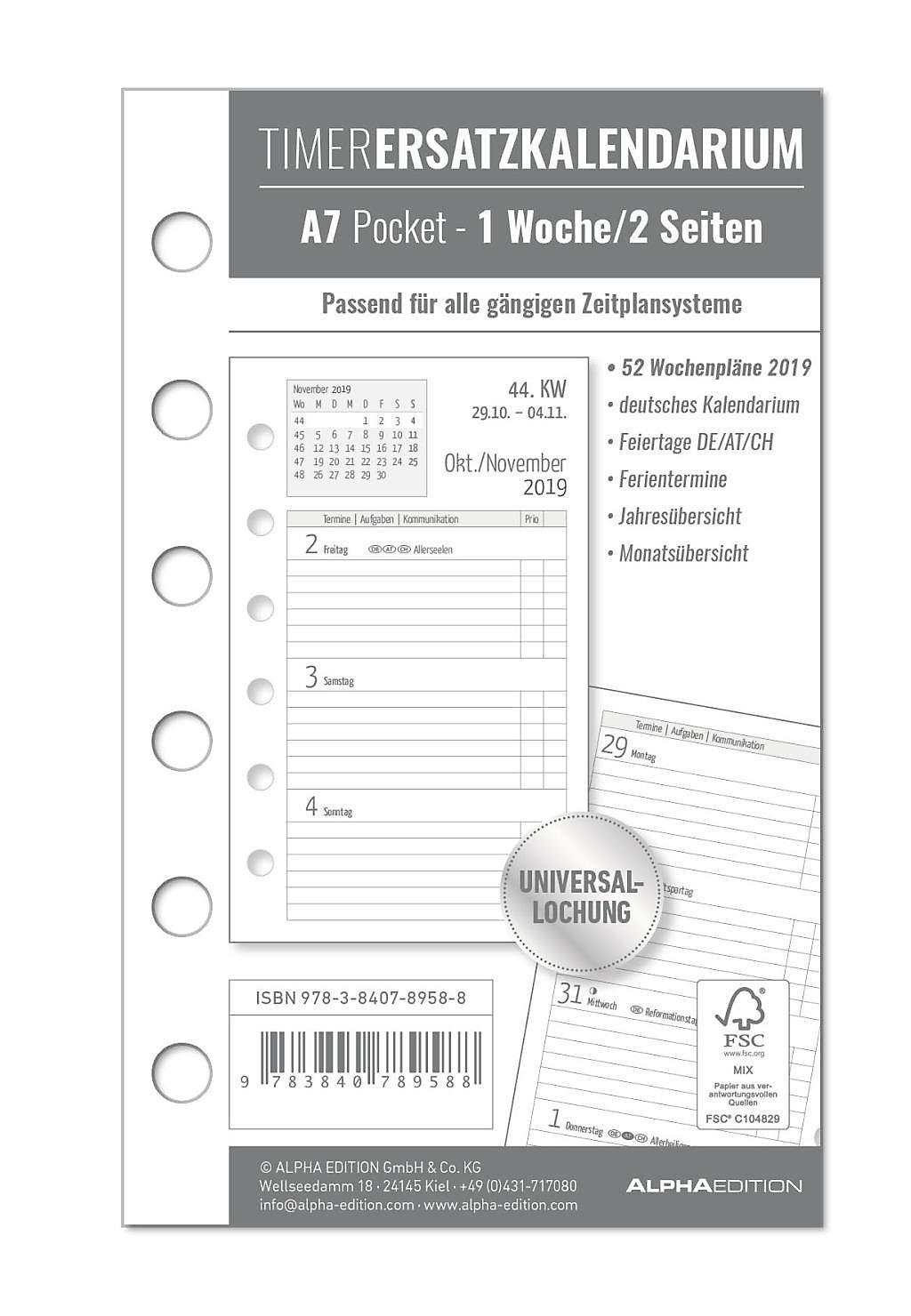 Timer Ersatzkalendarium A7 Pocket 2019 Kalender Bei Weltbildde