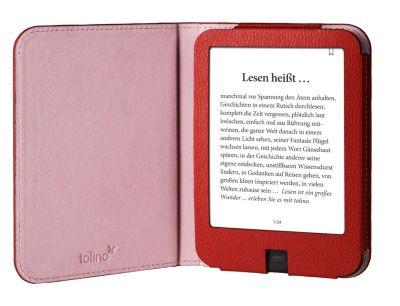 tolino shine 2 HD, Schutztasche in Lederoptik (Farbe:rot)