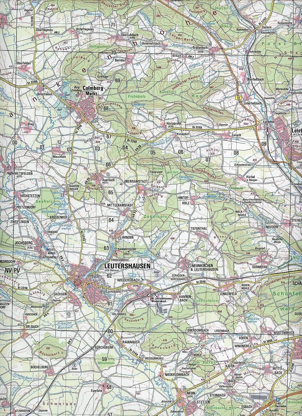 Topographische Karte Bayern Ansbach Buch Versandkostenfrei