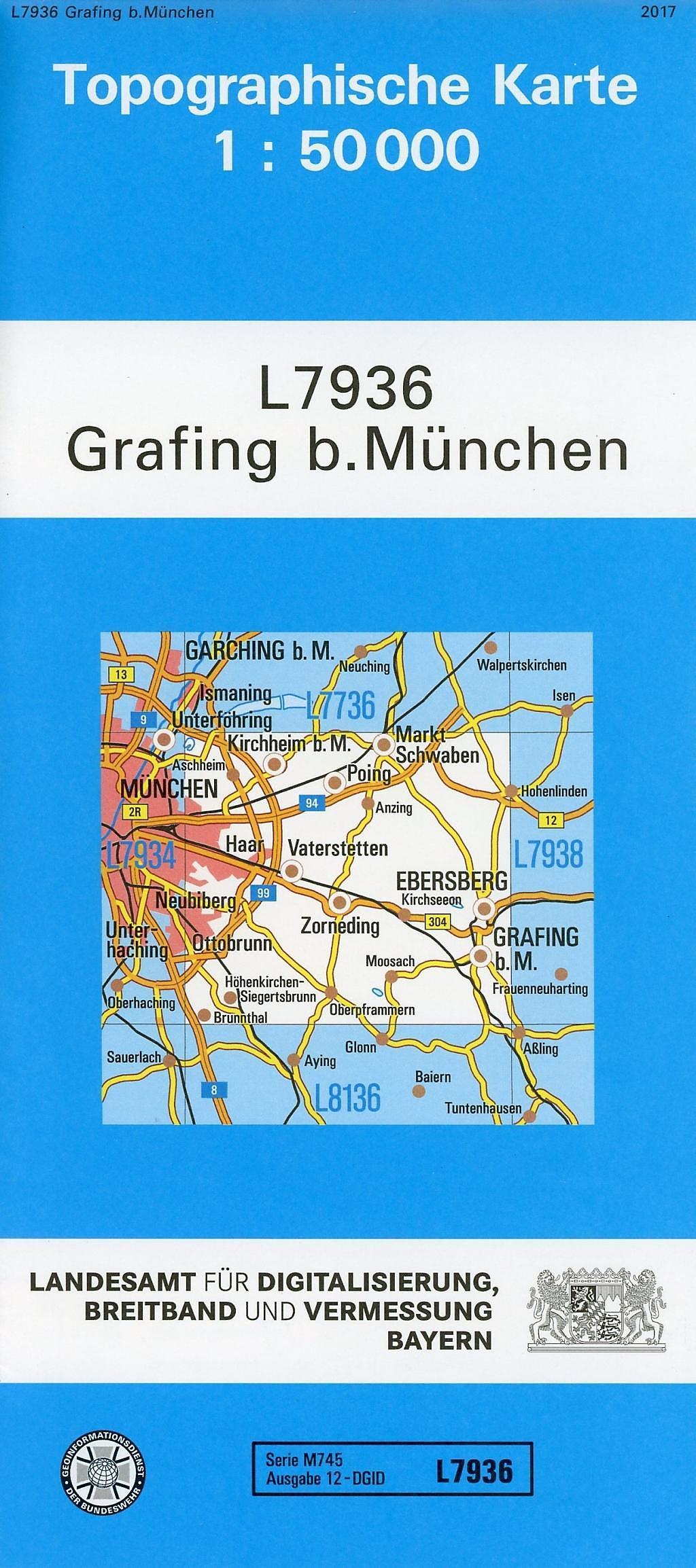 München Karte Bayern.Topographische Karte Bayern Grafing B München Buch Weltbild Ch