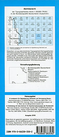 Topographische Karte Bayern Kösching - Produktdetailbild 1