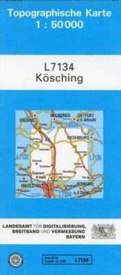 Topographische Karte Bayern Kösching, Breitband und Vermessung, Bayern Landesamt für Digitalisierung