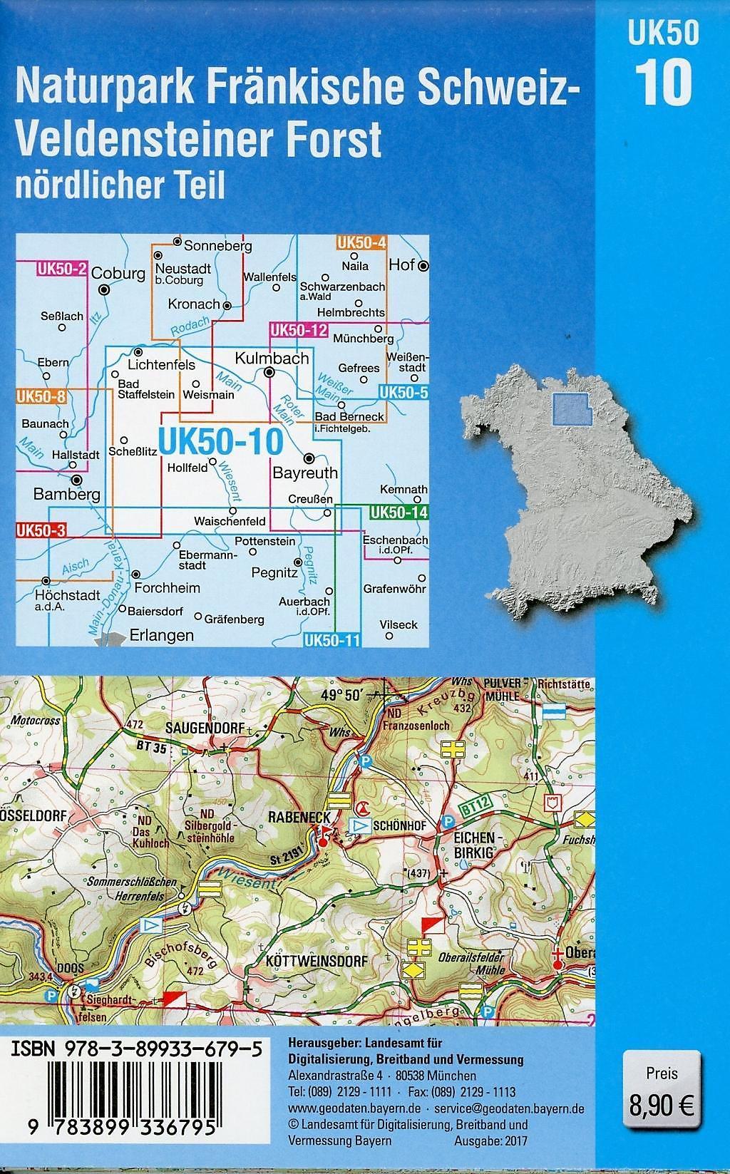 Fränkische Schweiz Karte.Topographische Karte Bayern Naturpark Fränkische Schweiz