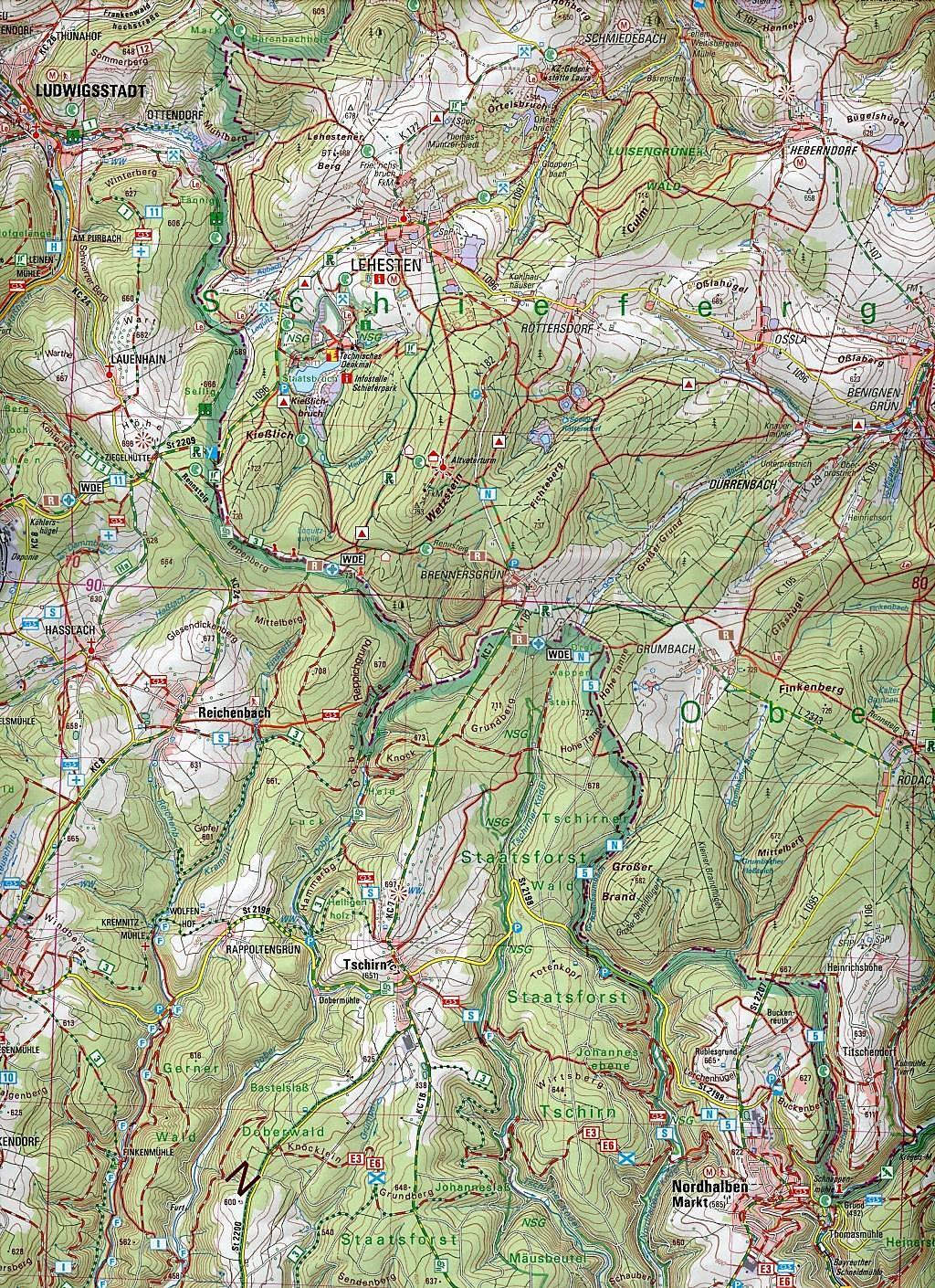 Topographische Karte Bayern.Topographische Karte Bayern Naturpark Frankenwald Buch Weltbild De