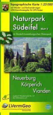 Topographische Karte Rheinland-Pfalz Naturpark Südeifel im Deutsch-Luxemburgischen Naturpark