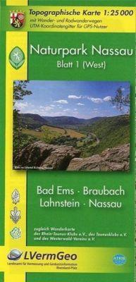Topographische Karte Rheinland-Pfalz Naturpark Nassau