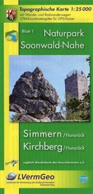 Topographische Karte Rheinland-Pfalz Naturpark Soonwald-Nahe