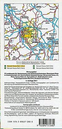 Topographische Karte Rheinland-Pfalz Naturpark Nassau - Produktdetailbild 1