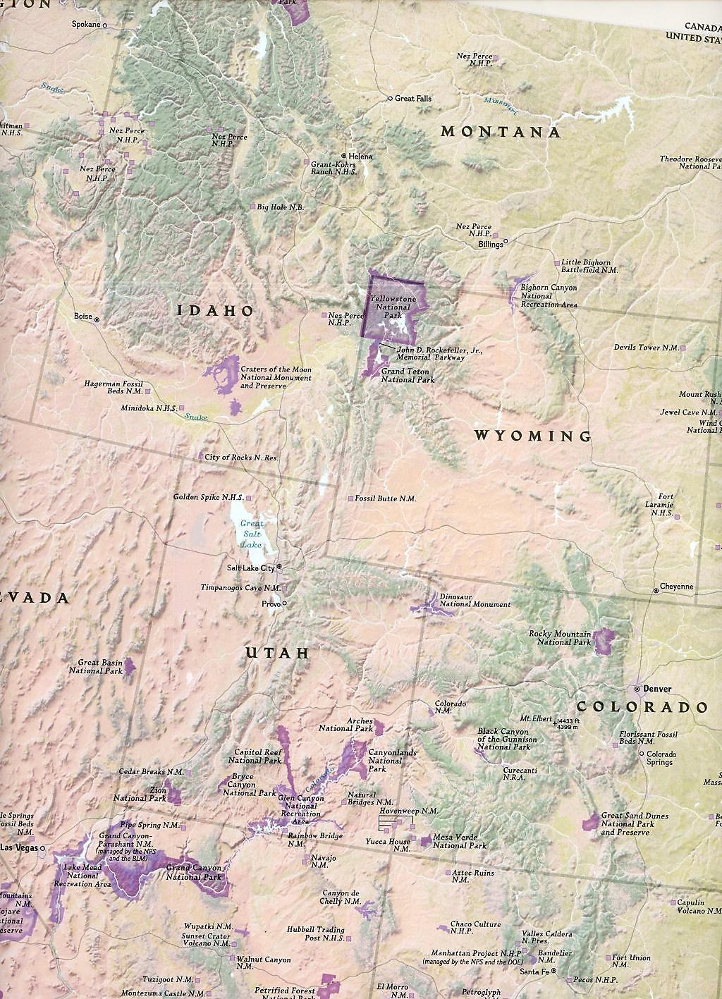 Touristische Karte National Parks of the USA Buch portofrei