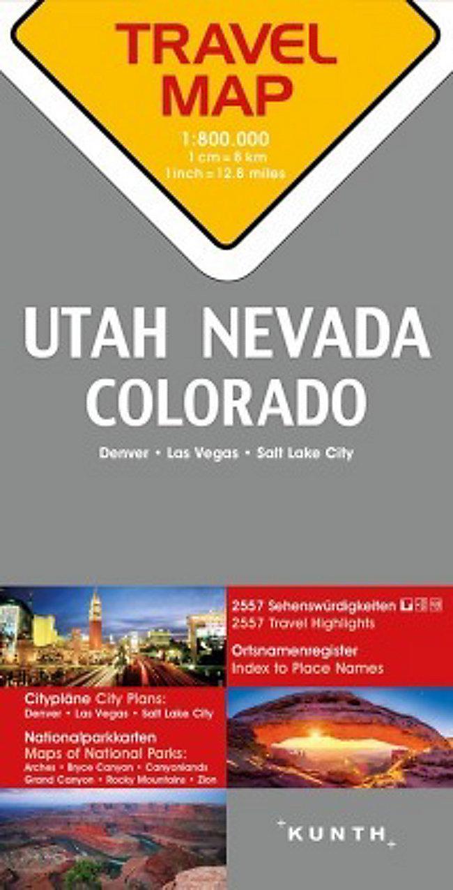 Travelmap Reisekarte Nevada Utah Colorado 1:800.000 jetzt kaufen