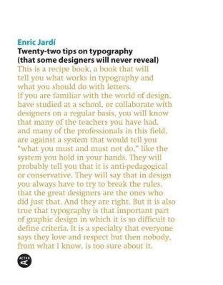 Twenty-Two Tips on Typography, Enric Jardí