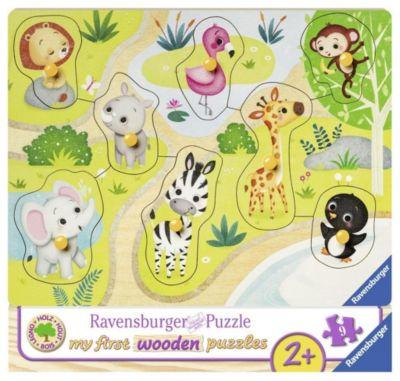 Unterwegs im Zoo 10 T.  Holzpuzzles