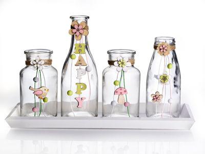 Vasen-Set auf Tablett, 5-teilig