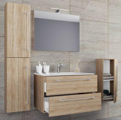 Waschbecken mit Unterschrank Waschtisch Badmöbel Set Badezimmer Schwarz 3 Breite