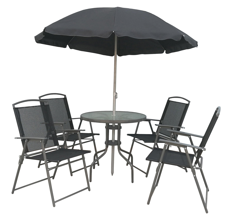 Balkonmöbel Tisch Stühle.Vcm 6 Teiliges Gartenmöbel Set Tisch Stühle Schirm Vcm