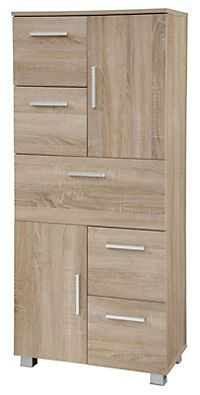 vcm badschrank midischrank badregal badezimmer badm bel glast r darola 95 x 30 x 30 cm wei. Black Bedroom Furniture Sets. Home Design Ideas