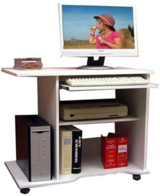 vcm computertisch schreibtisch b rotisch pc laptop tisch mit rollen wei b ro officano. Black Bedroom Furniture Sets. Home Design Ideas