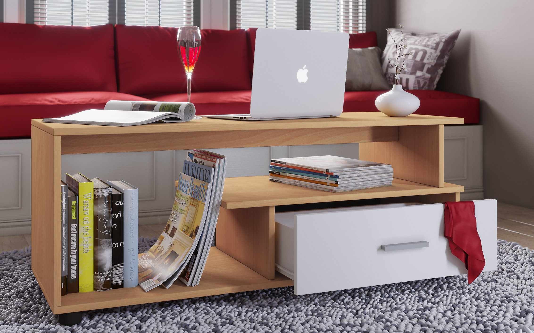 Vcm Couchtisch Sofatisch Wohnzimmertisch Schublade Wohnzimmer Tisch