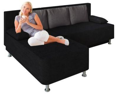 VCM Ecksofa Bettsofa Schlafsofa Couch mit Schlaffunktion Magota Schwarz 81 x 203 x 78 cm