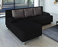 "VCM Ecksofa Bettsofa Schlafsofa Couch mit Schlaffunktion ""Magota Schwarz"" 81 x 203 x 78 cm - Produktdetailbild 2"