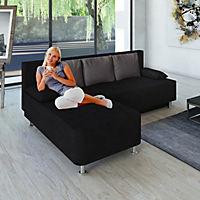 "VCM Ecksofa Bettsofa Schlafsofa Couch mit Schlaffunktion ""Magota Schwarz"" 81 x 203 x 78 cm - Produktdetailbild 1"