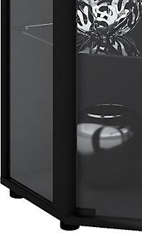 """VCM Eckvitrine Glasvitrine Standvitrine Schaukasten Glasschrank Sammelvitrine Vitrine Glas """"Venedig"""" (Farbe: Ohne LED: Schwarz) - Produktdetailbild 1"""