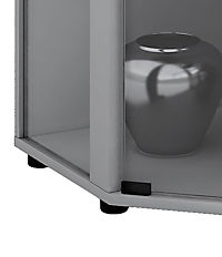 "VCM Eckvitrine Glasvitrine Standvitrine Schaukasten Glasschrank Sammelvitrine Vitrine Glas ""Venedig"" (Farbe: Ohne LED: Silber) - Produktdetailbild 2"