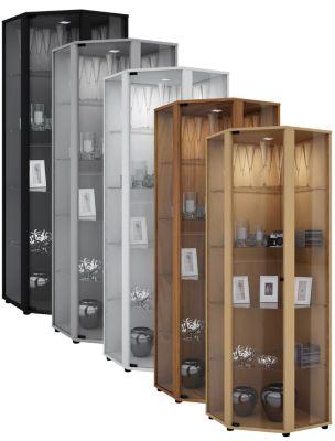 VCM Eckvitrine Glasvitrine Standvitrine Schaukasten Glasschrank Sammelvitrine Vitrine Glas Venedig (Farbe: Ohne LED: Silber)