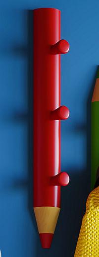 "VCM Garderobe Wandgarderobe Hakenleiste Kleiderhaken Kinder Holz ""Stifto"" VCM Garderobe Stifto (Farbe: Rot) - Produktdetailbild 6"