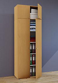 """VCM Mehrzweckschrank Dielenschrank """"Vandol""""   Auswahlmöglichkeiten: +Schublade / +Aufsatz (Farbe: Höhe 218 cm: Buche) - Produktdetailbild 1"""