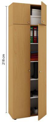 VCM Mehrzweckschrank Dielenschrank Vandol   Auswahlmöglichkeiten: +Schublade / +Aufsatz (Farbe: Höhe 218 cm: Buche)