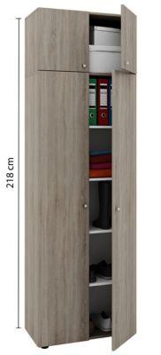 VCM Mehrzweckschrank Dielenschrank Vandol   Auswahlmöglichkeiten: +Schublade / +Aufsatz (Farbe: Höhe 198 cm: Sonoma-Eiche)