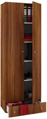 VCM Mehrzweckschrank Dielenschrank Vandol | Auswahlmöglichkeiten: +Schublade / +Aufsatz (Farbe: Höhe 198 cm: Kern-Nussbaum)