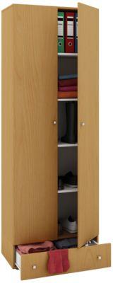 VCM Mehrzweckschrank Dielenschrank Vandol | Auswahlmöglichkeiten: +Schublade / +Aufsatz (Farbe: Höhe 198 cm: Buche)