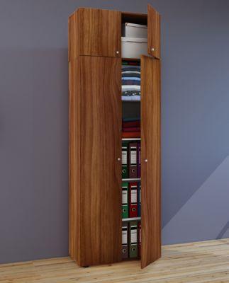 VCM Mehrzweckschrank Dielenschrank Vandol | Auswahlmöglichkeiten: +Schublade / +Aufsatz (Farbe: Höhe 218 cm: Kern-Nussbaum)