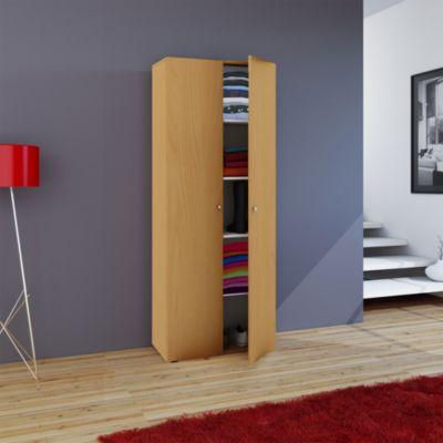 VCM Mehrzweckschrank Dielenschrank Vandol | Auswahlmöglichkeiten: +Schublade / +Aufsatz (Farbe: Höhe 178 cm: Buche)