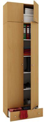 VCM Mehrzweckschrank Dielenschrank Vandol | Auswahlmöglichkeiten: +Schublade / +Aufsatz (Farbe: Höhe 238 cm: Buche)