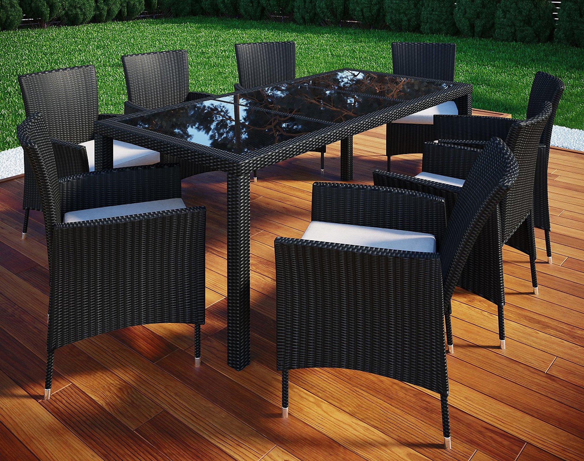 VCM Poly Rattan 190x90 Gartenmöbel Essgruppe Sitzgruppe