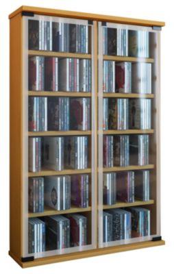 VCM Regal DVD CD Rack Medienregal Medienschrank Aufbewahrung Holzregal Standregal Möbel Bluray Möbel Galerie (Farbe: Buche)