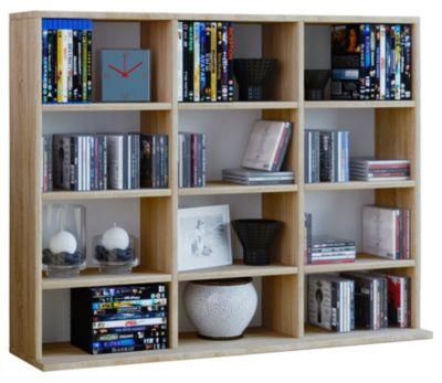 VCM Regal Standregal Medienregal Regalwand Bücherregal CD DVD Ablage Aufbewahrung Holz Raunteiler Wandregal Megosa Mini VCM Regal Megosa Mini (Farbe: Sonoma-Eiche (Sägerau))