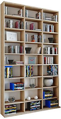 "VCM Regal Standregal Medienregal Regalwand Bücherregal CD DVD Ablage Aufbewahrung Holz Raumteiler Wandregal ""Megosa Maxi"" (Farbe: Sonoma-Eiche (Sägerau)) - Produktdetailbild 1"