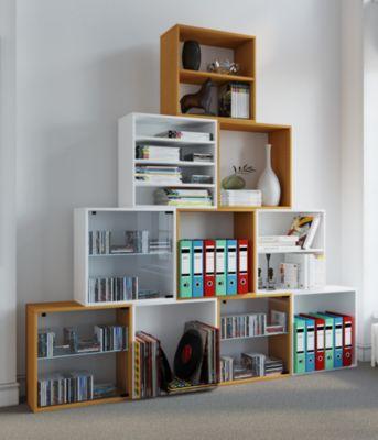 VCM Regal Würfel Quadratisch Wandregal Bücher Schrank CDs Holz Aufbewahrung Quattro (Farbe: Premium: Weiß)