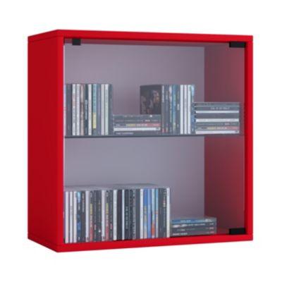 VCM Regal Würfel Quadratisch Wandregal Bücher Schrank CDs Holz Aufbewahrung Quattro VCM Regal-Serie Quatto (Farbe: Premium: Rot)