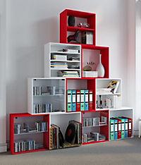 "VCM Regal Würfel Quadratisch Wandregal Bücher Schrank CDs Holz Aufbewahrung ""Quattro"" (Farbe: Premium: Rot) - Produktdetailbild 1"