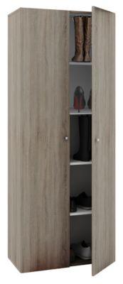 VCM Schuhschrank Schuhregal Schuhkommode Standschrank Universal Schrank Regal Vandol 5 Fächer (Farbe: Mit Türen: Sonoma-Eiche (Sägerau))
